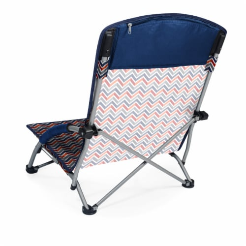 Tranquility Portable Beach Chair, Vibe Collection - Navy Blue, Orange, & Gray Pattern Perspective: back