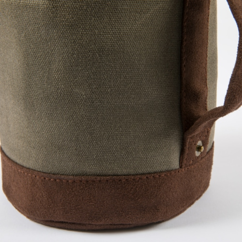 Insulated Growler Tote, Khaki Green with Brown Accents Perspective: back