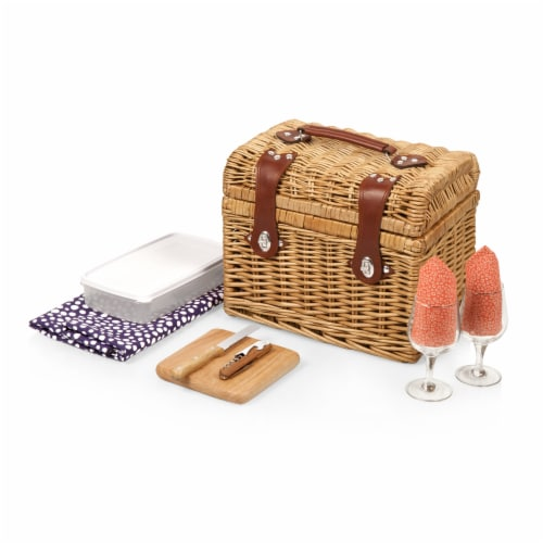 Napa Wine & Cheese Picnic Basket, Purple with Coral Pattern Perspective: back