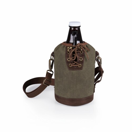 Insulated Growler Tote with 64 oz. Glass Growler, Khaki Green Perspective: back