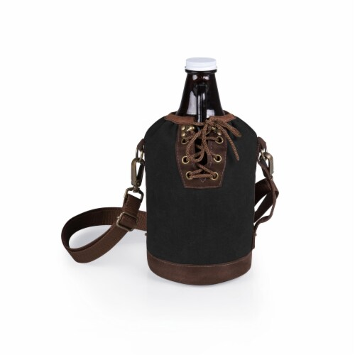 Insulated Growler Tote with 64 oz. Glass Growler, Black with Brown Accents & Glass Growler Perspective: back