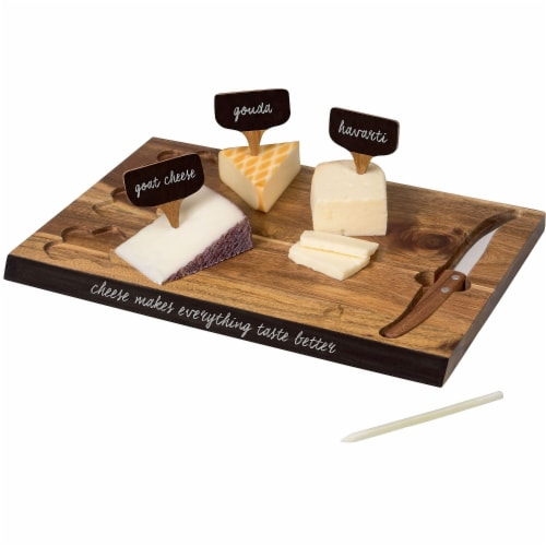 Picnic Time Delio Acacia Cheese Board with Chalk Board Markers - Acacia Perspective: back