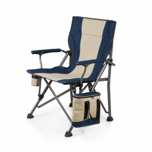 Outlander Folding Camp Chair with Cooler, Navy Blue Perspective: back