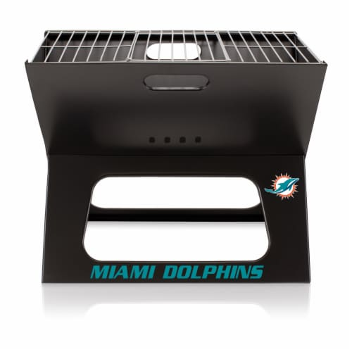 Miami Dolphins - X-Grill Portable Charcoal BBQ Grill Perspective: back