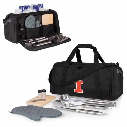 Illinois Fighting Illini - BBQ Kit Grill Set & Cooler Perspective: back
