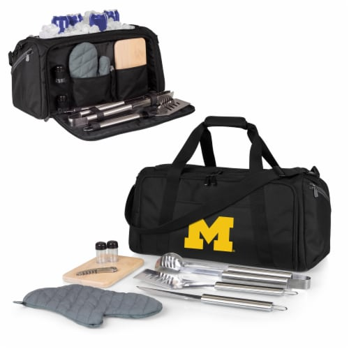 Michigan Wolverines - BBQ Kit Grill Set & Cooler Perspective: back