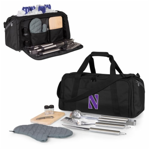 Northwestern Wildcats - BBQ Kit Grill Set & Cooler Perspective: back