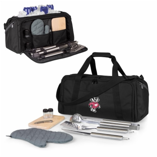 Wisconsin Badgers - BBQ Kit Grill Set & Cooler Perspective: back