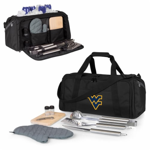 West Virginia Mountaineers - BBQ Kit Grill Set & Cooler Perspective: back