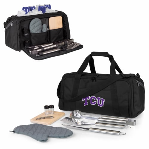 TCU Horned Frogs - BBQ Kit Grill Set & Cooler Perspective: back