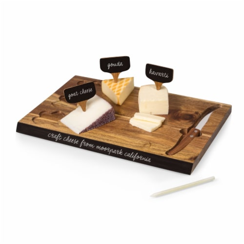 Texas Tech Red Raiders - Delio Acacia Cheese Cutting Board & Tools Set Perspective: back
