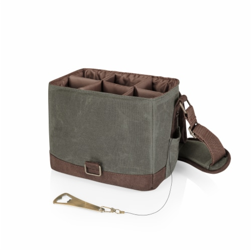 Legacy Beer Caddy Cooler Tote with Opener - Khaki Green/Brown Perspective: back