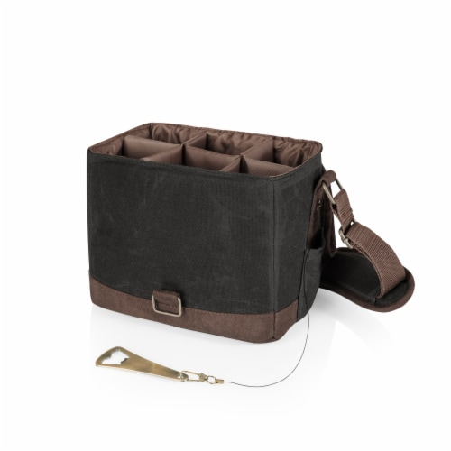Beer Caddy Cooler Tote with Opener, Black with Brown Accents Perspective: back