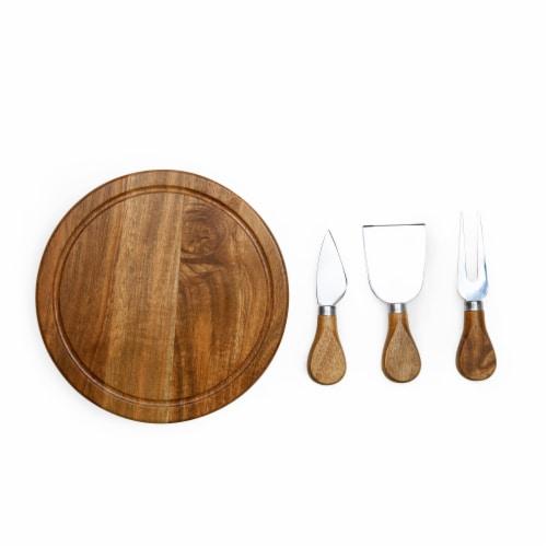 Acacia Brie Cheese Cutting Board & Tools Set, Acacia Wood Perspective: back