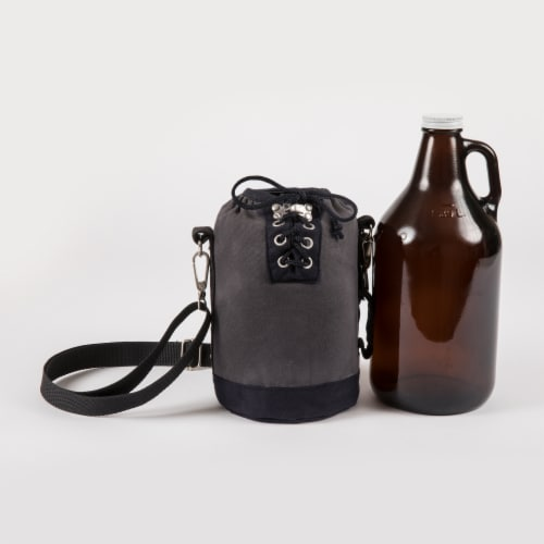 Insulated Growler Tote with 64 oz. Glass Growler, Gray with Black Accents & Glass Growler Perspective: back