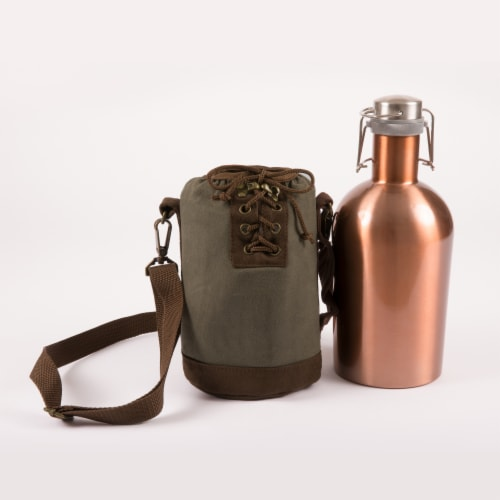 Insulated Growler Tote with 64 oz. Cooper Stainless Steel Growler, Khaki Green Perspective: back