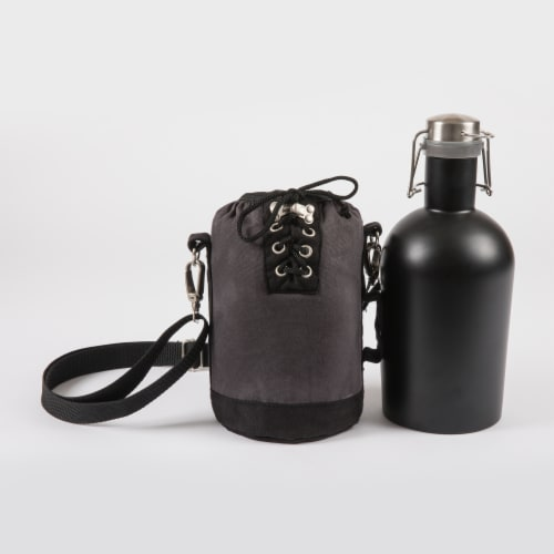 Insulated Growler Tote with 64 oz. Matte Black Stainless Steel Growler, Gray Perspective: back