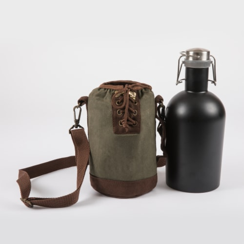 Insulated Growler Tote with 64 oz. Matte Black Stainless Steel Growler, Khaki Green Perspective: back