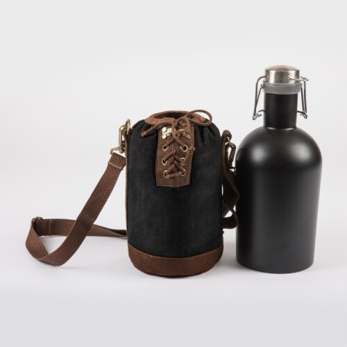 Insulated Growler Tote with 64 oz. Matte Black Stainless Steel Growler, Black Perspective: back