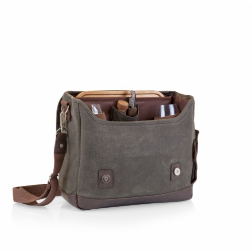 Adventure Wine Tote, Khaki Green with Brown Accents Perspective: back