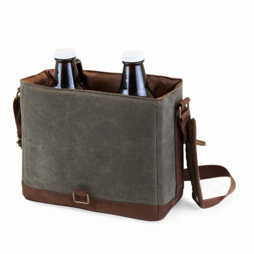 Insulated Double Growler Tote with 64 oz. Glass Growlers, Khaki Green with Brown Accents Perspective: back