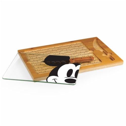 Disney Mickey Mouse - Icon Glass Top Cutting Board & Knife Set, Rubberwood & Bamboo Perspective: back