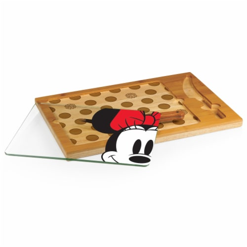 Disney Minnie Mouse - Icon Glass Top Cutting Board & Knife Set, Rubberwood & Bamboo Perspective: back