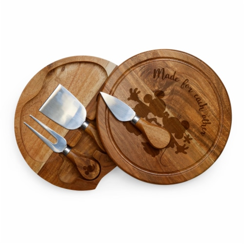 Disney Mickey & Minnie Mouse - Acacia Brie Cheese Cutting Board & Tools Set, Acacia Wood Perspective: back