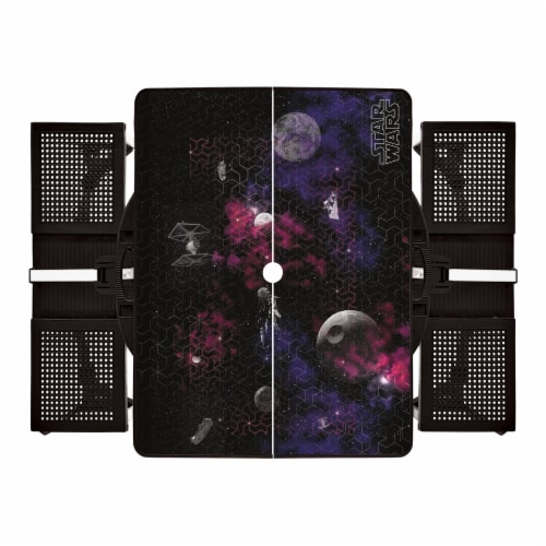 Star Wars Death Star - Picnic Table Portable Folding Table with Seats, Black Perspective: back