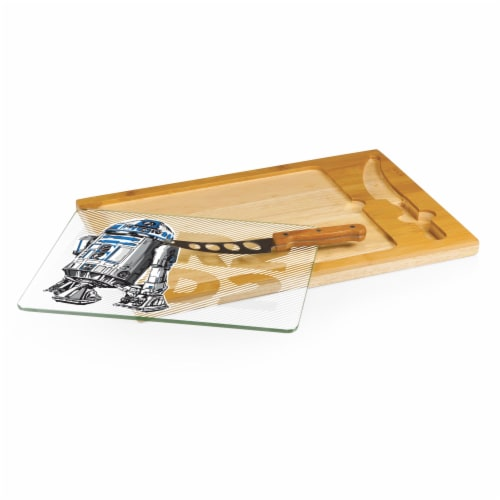 Star Wars R2-D2 - Icon Glass Top Cutting Board & Knife Set, Rubberwood & Bamboo Perspective: back