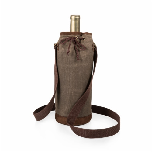 Waxed Canvas Wine Tote, Khaki Green Perspective: back