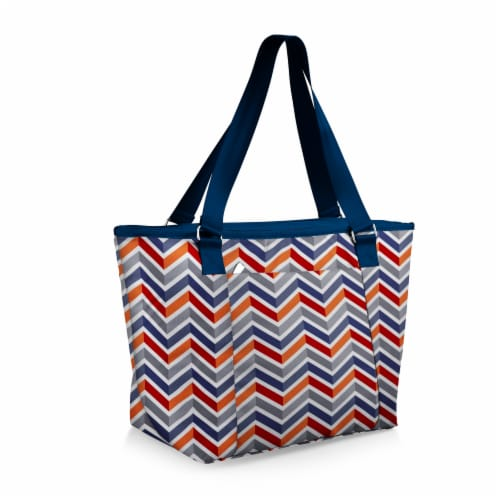 Topanga Cooler Tote Bag, Vibe Collection - Navy Blue, Orange, & Gray Pattern Perspective: back