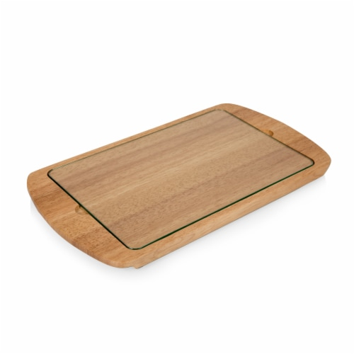 Billboard Glass Top Serving Tray, Rubberwood Perspective: back