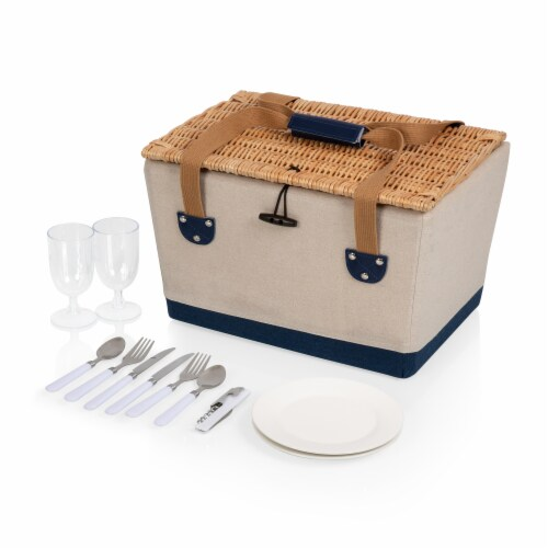 Boardwalk Picnic Basket, Beige Canvas with Navy Blue Accents Perspective: back