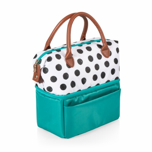 Urban Lunch Bag, Teal with Polka Dot Pattern Perspective: back