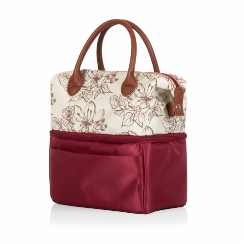 Urban Lunch Bag, Burgundy with Floral Pattern Perspective: back