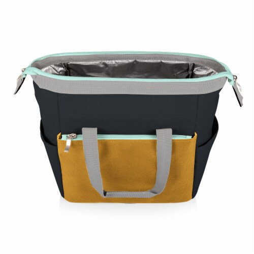 On The Go Lunch Cooler, Mustard Yellow with Gray & Blue Accents Perspective: back