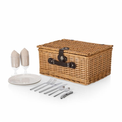 Classic Picnic Basket, Beige Canvas Perspective: back