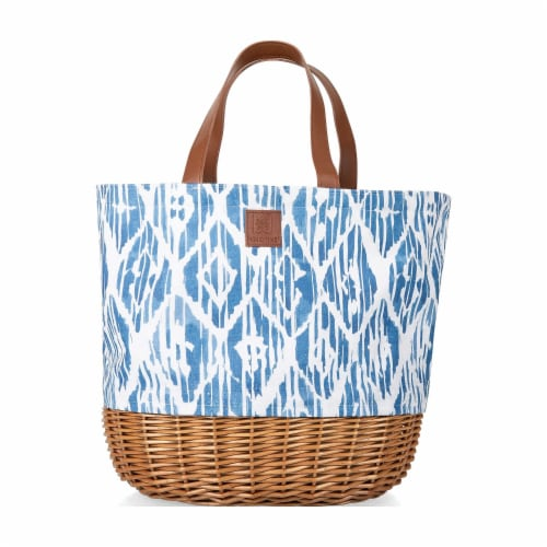 Coronado Canvas and Willow Basket Tote, Moroccan Watercolor Pattern Perspective: back