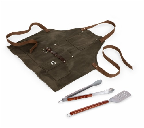 BBQ Apron with Tools & Bottle Opener, Khaki Green with Beige Accents Perspective: back