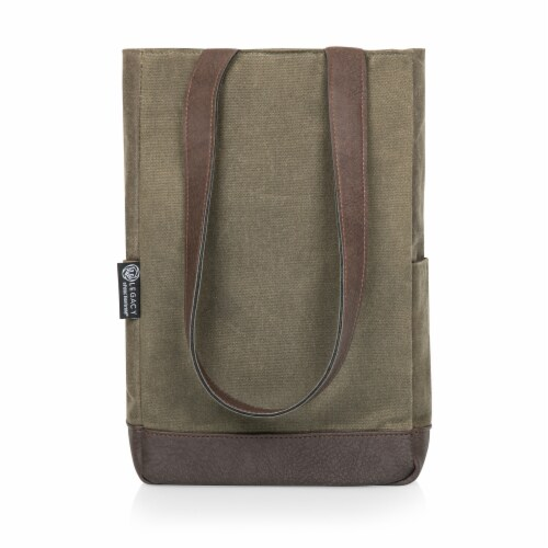 2 Bottle Insulated Wine Cooler Bag, Khaki Green with Beige Accents Perspective: back