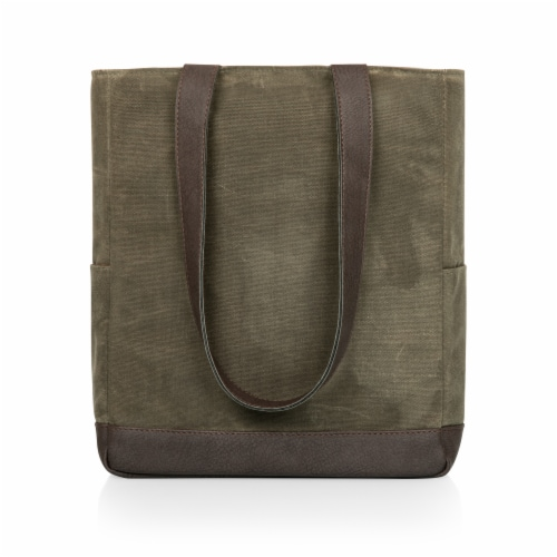 3 Bottle Insulated Wine Cooler Bag, Khaki Green with Beige Accents Perspective: back