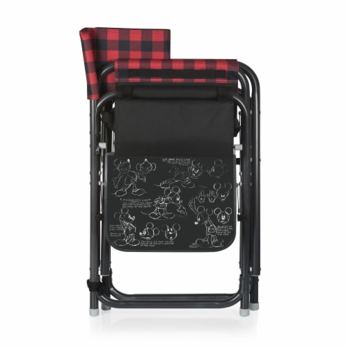 Disney Mickey Mouse - Outdoor Directors Folding Chair, Red & Black Buffalo Plaid Pattern Perspective: back