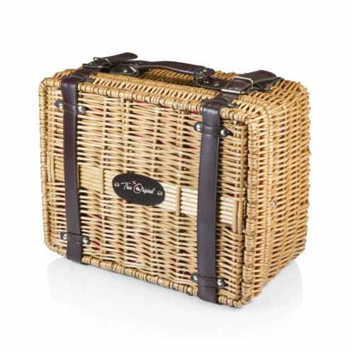 Disney Mickey Mouse - Champion Picnic Basket, Red & Black Buffalo Plaid Pattern Perspective: back