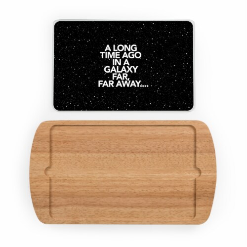 Star Wars Scroll - Billboard Glass Top Serving Tray, Rubberwood Perspective: back