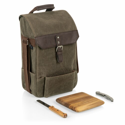 2 Bottle Insulated Wine & Cheese Cooler with Cheese Board, Knife & Corkscrew, Khaki Green Perspective: back