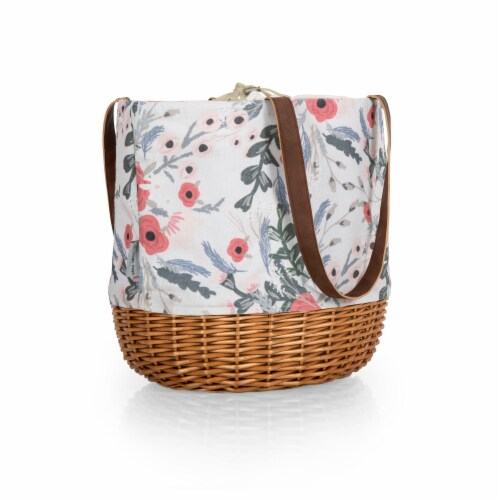 Coronado Canvas and Willow Basket Tote, Floral Pattern Perspective: back