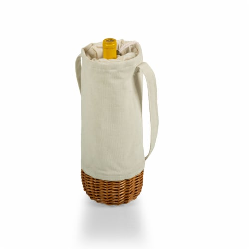 Malbec Insulated Canvas and Willow Wine Bottle Basket, Beige Canvas Perspective: back