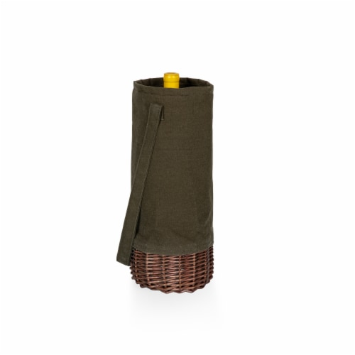 Malbec Insulated Canvas and Willow Wine Bottle Basket, Khaki Green with Beige Accents Perspective: back