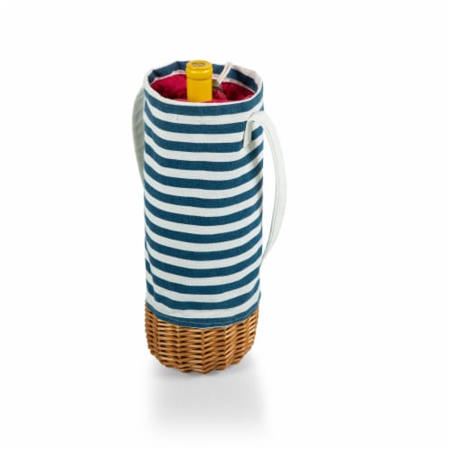 Malbec Insulated Canvas and Willow Wine Bottle Basket, Navy Blue & White Stripe Perspective: back